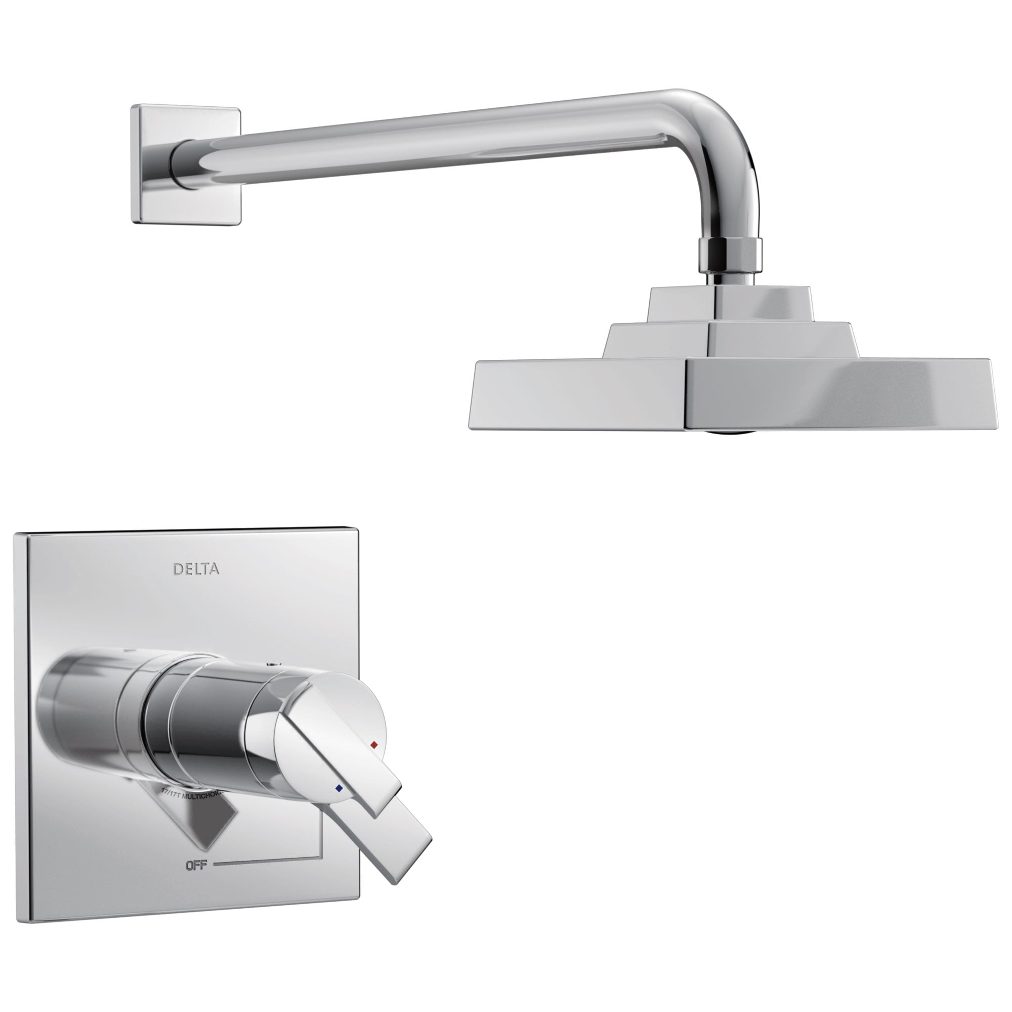 Delta Ara Collection Chrome TempAssure 17T Series Watersense Thermostatic Modern Dual Control Shower only Faucet Trim Kit (Requires Valve) DT17T267