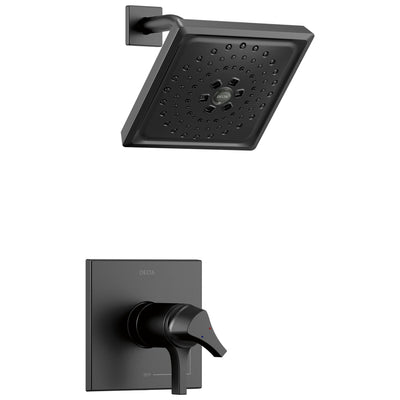 Delta Zura Matte Black Finish TempAssure 17T Series Shower only Faucet Includes Handles, Cartridge, and Rough-in Valve with Stops D3003V