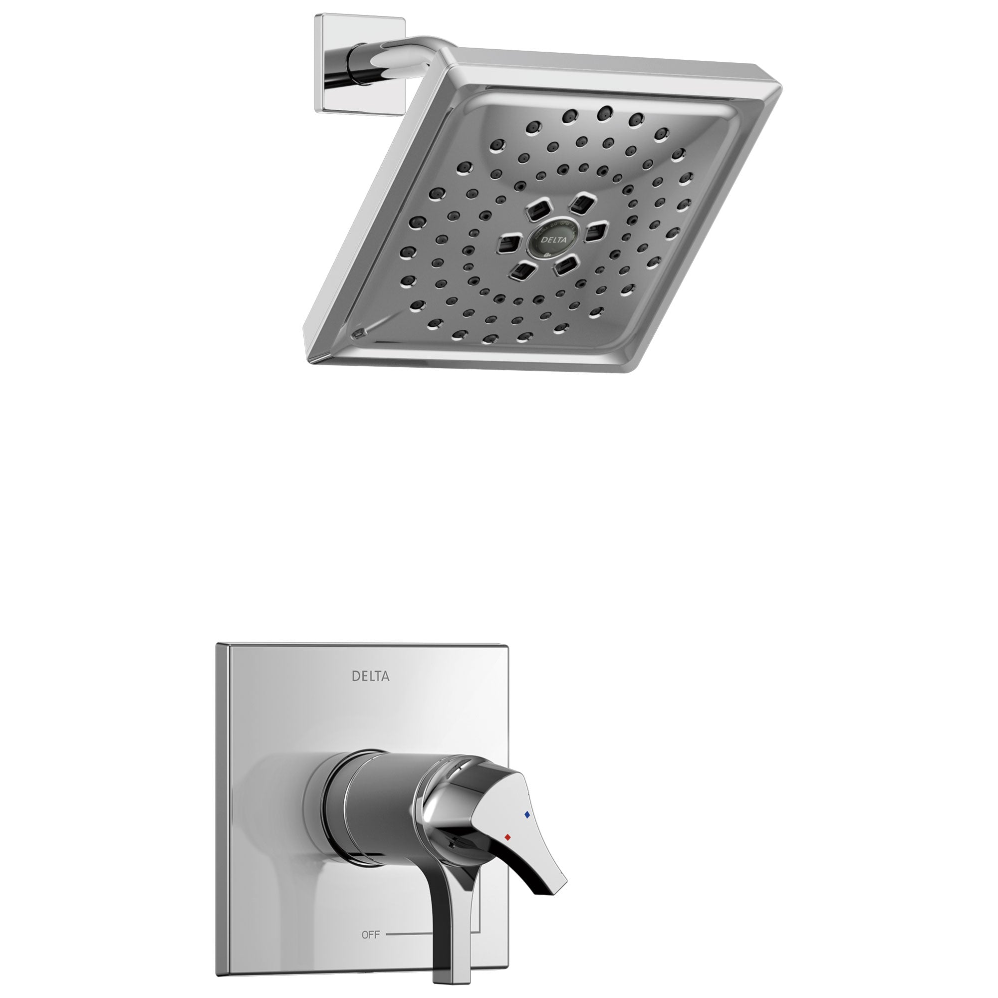 Delta Zura Collection Chrome TempAssure 17T Series Modern Dual Temperature and Volume Control Shower Faucet Includes Rough-in Valve with Stops D1935V