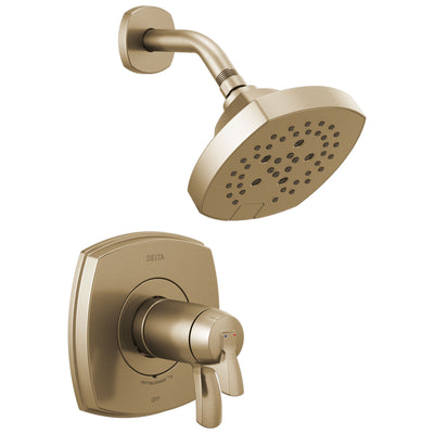 Delta Stryke Champagne Bronze Finish 17T Thermostatic Shower Only Faucet Includes Cartridge, Handles, and Rough-in Valve with Stops D3280V