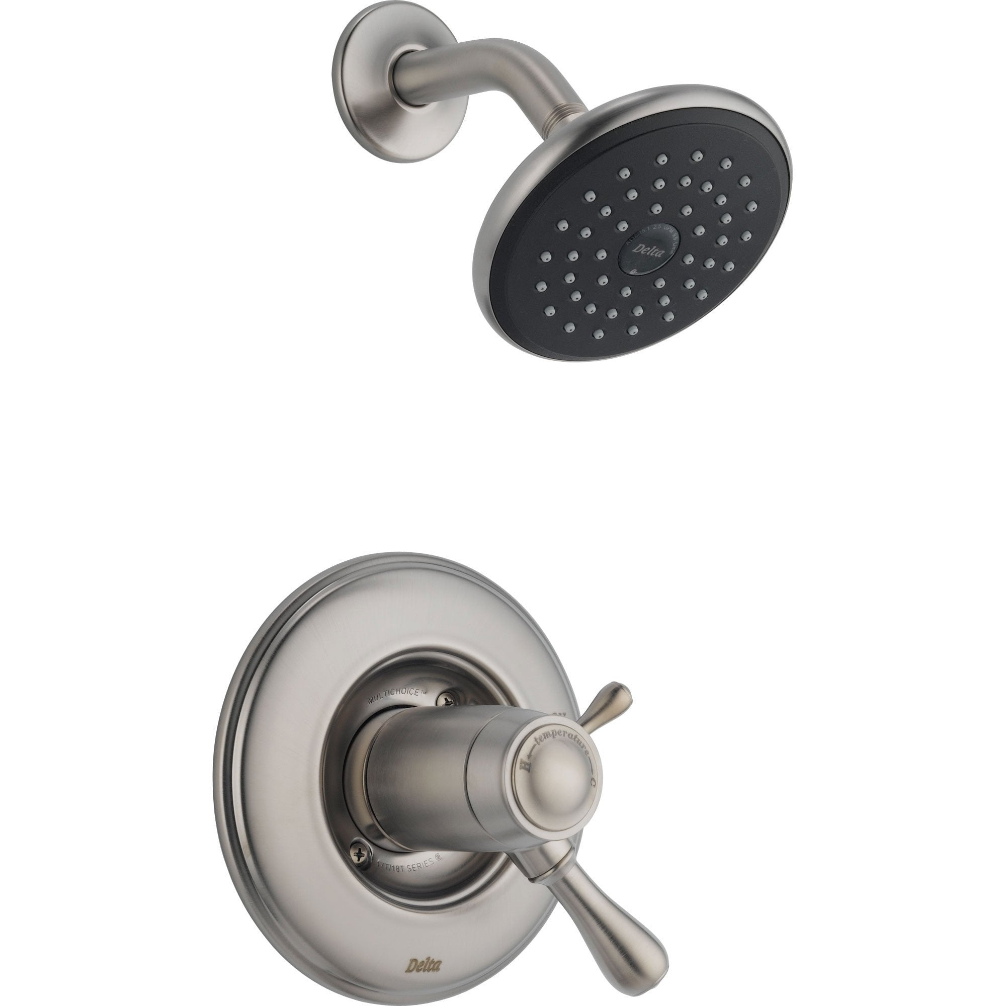 Delta Leland Stainless Steel Finish Thermostatic Shower Faucet with Valve D845V