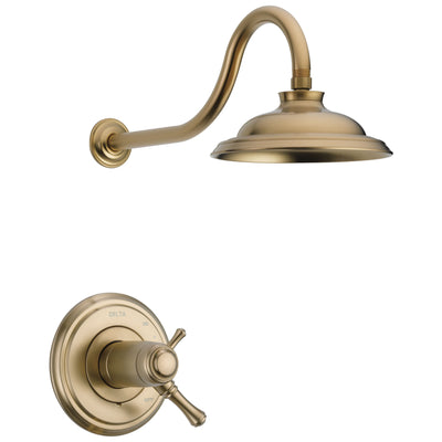 Delta Cassidy Champagne Bronze Finish TempAssure Water Efficient Shower only Faucet Includes 17T Cartridge, Handles, and Valve without Stops D3275V