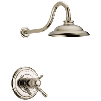 Delta Cassidy Polished Nickel Finish TempAssure Water Efficient Shower only Faucet Includes 17T Cartridge, Handles, and Valve with Stops D3274V