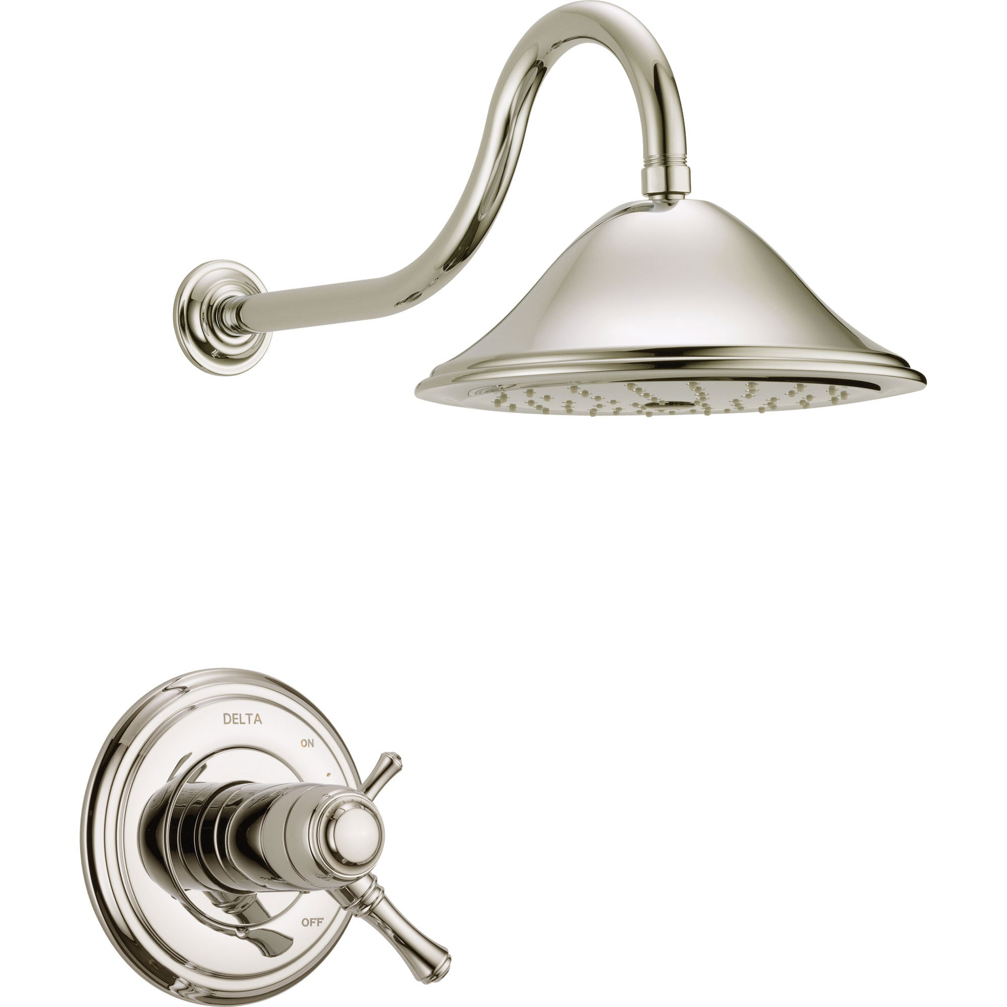 Delta Cassidy Polished Nickel Dual Thermostatic Large Shower Faucet Trim 584222