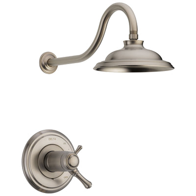 Delta Cassidy Stainless Steel Finish TempAssure Water Efficient Shower only Faucet Includes 17T Cartridge, Handles, and Valve without Stops D3269V