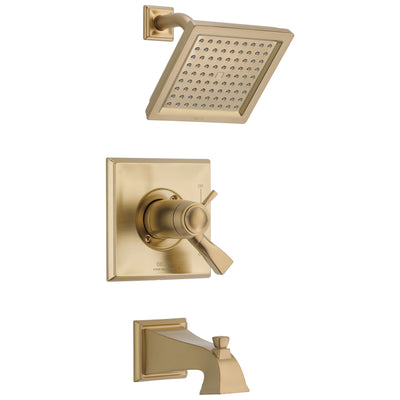 Delta Dryden Champagne Bronze Thermostatic Water Efficient Tub & Shower Faucet Combo Includes Handles, Cartridge, and Valve with Stops D3252V