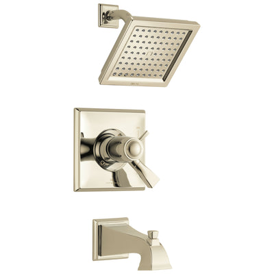 Delta Dryden Polished Nickel Finish Thermostatic Water Efficient Tub & Shower Faucet Combo Includes Handles, Cartridge, and Valve with Stops D3250V