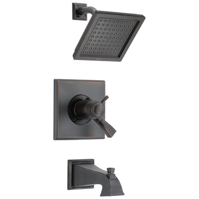 Delta Dryden Venetian Bronze Finish Thermostatic Water Efficient Tub & Shower Faucet Combo Includes Handles, Cartridge, and Valve with Stops D3248V