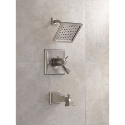Delta Dryden Collection Stainless Steel Finish Modern TempAssure 17T Thermostatic Tub and Shower Combo Faucet Includes Valve without Stops D2237V
