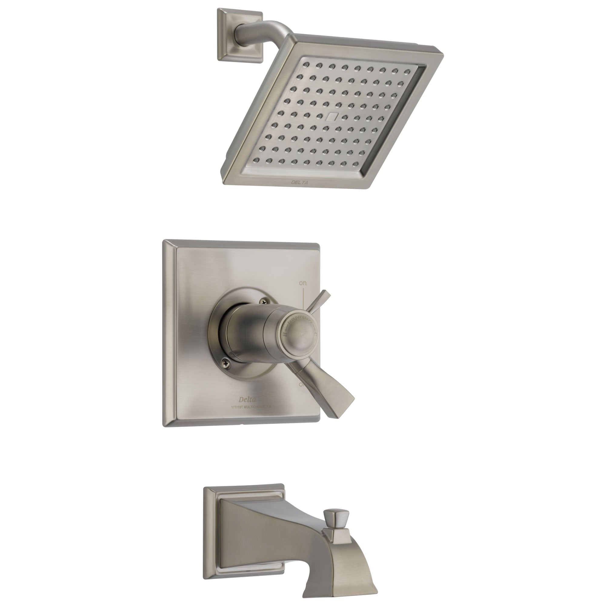 Delta Dryden Stainless Steel Finish TempAssure 17T Series Water Efficient Tub & Shower Faucet Combination Trim Kit (Requires Valve) DT17T451SSWE