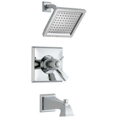 Delta Dryden Chrome Finish Thermostatic Water Efficient Tub & Shower Faucet Combination Includes Handles, Cartridge, and Valve without Stops D3243V