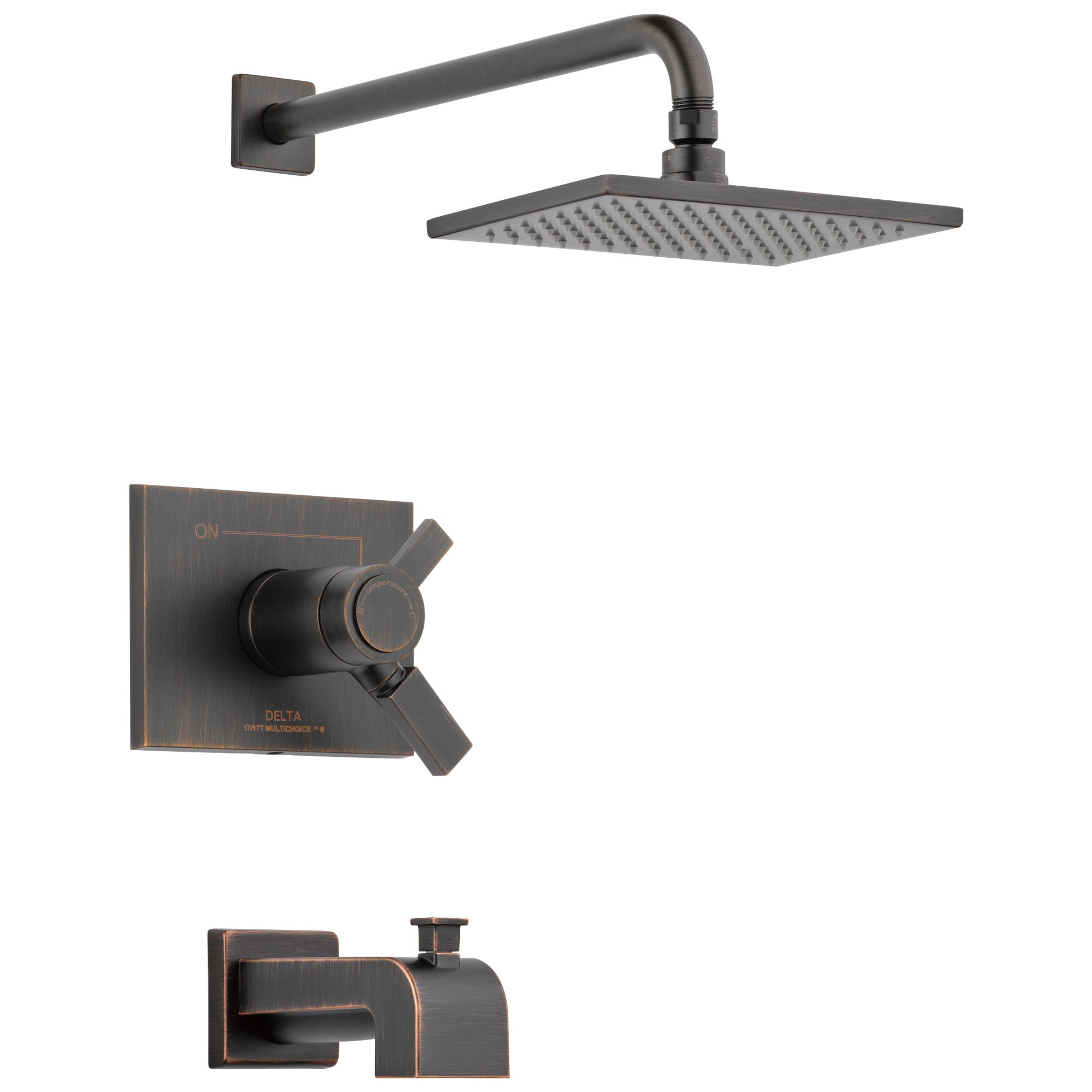 Delta Vero Venetian Bronze Finish Water Efficient Thermostatic Tub & Shower Faucet Combo Includes Cartridge, Handles, and Valve without Stops D3239V