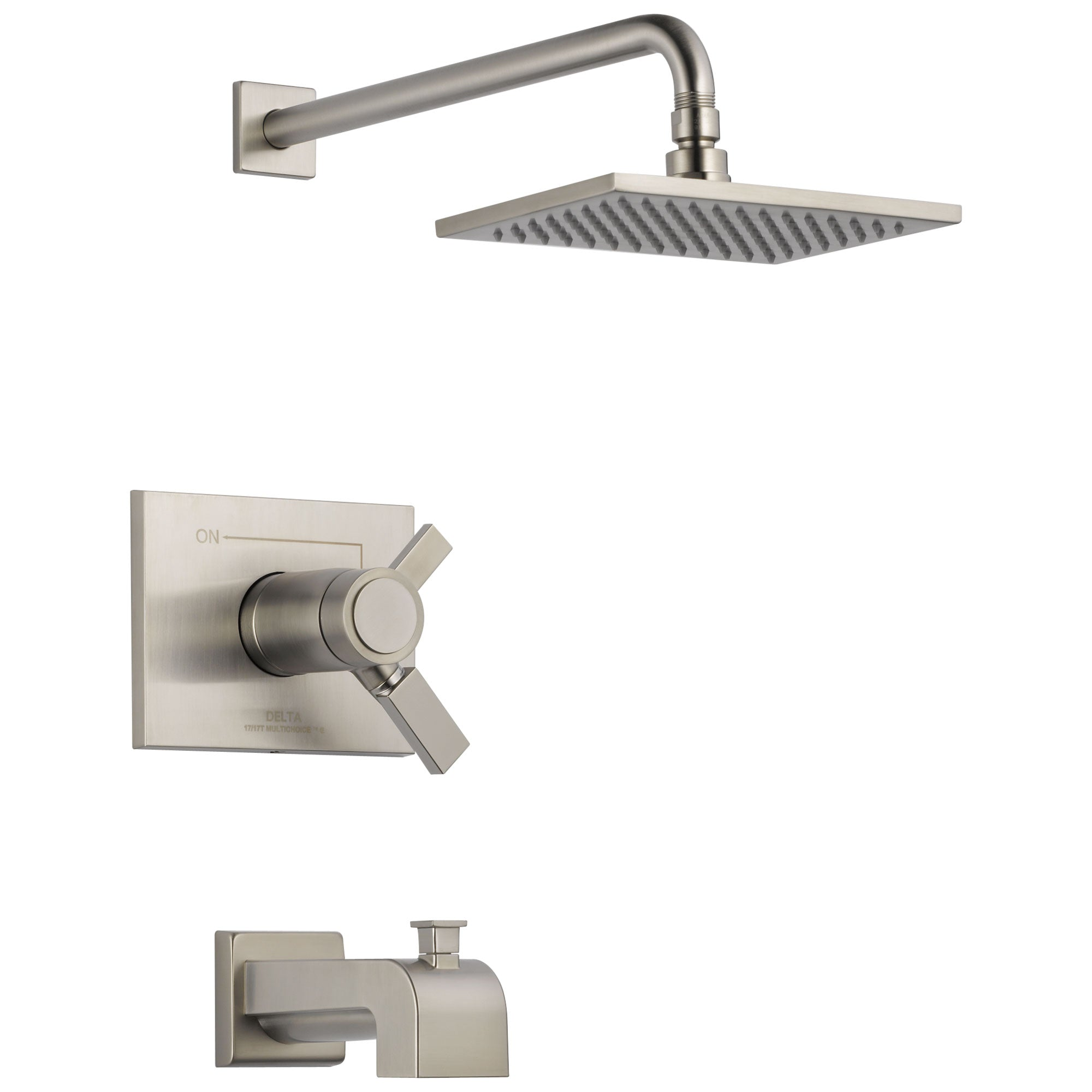 Delta Vero Stainless Steel Finish TempAssure 17T Series Water Efficient Tub & Shower Faucet Combination Trim Kit (Requires Valve) DT17T453SSWE