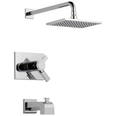 Delta Vero Chrome Finish Water Efficient Thermostatic Tub & Shower Faucet Combination Includes 17T Cartridge, Handles, and Valve without Stops D3235V