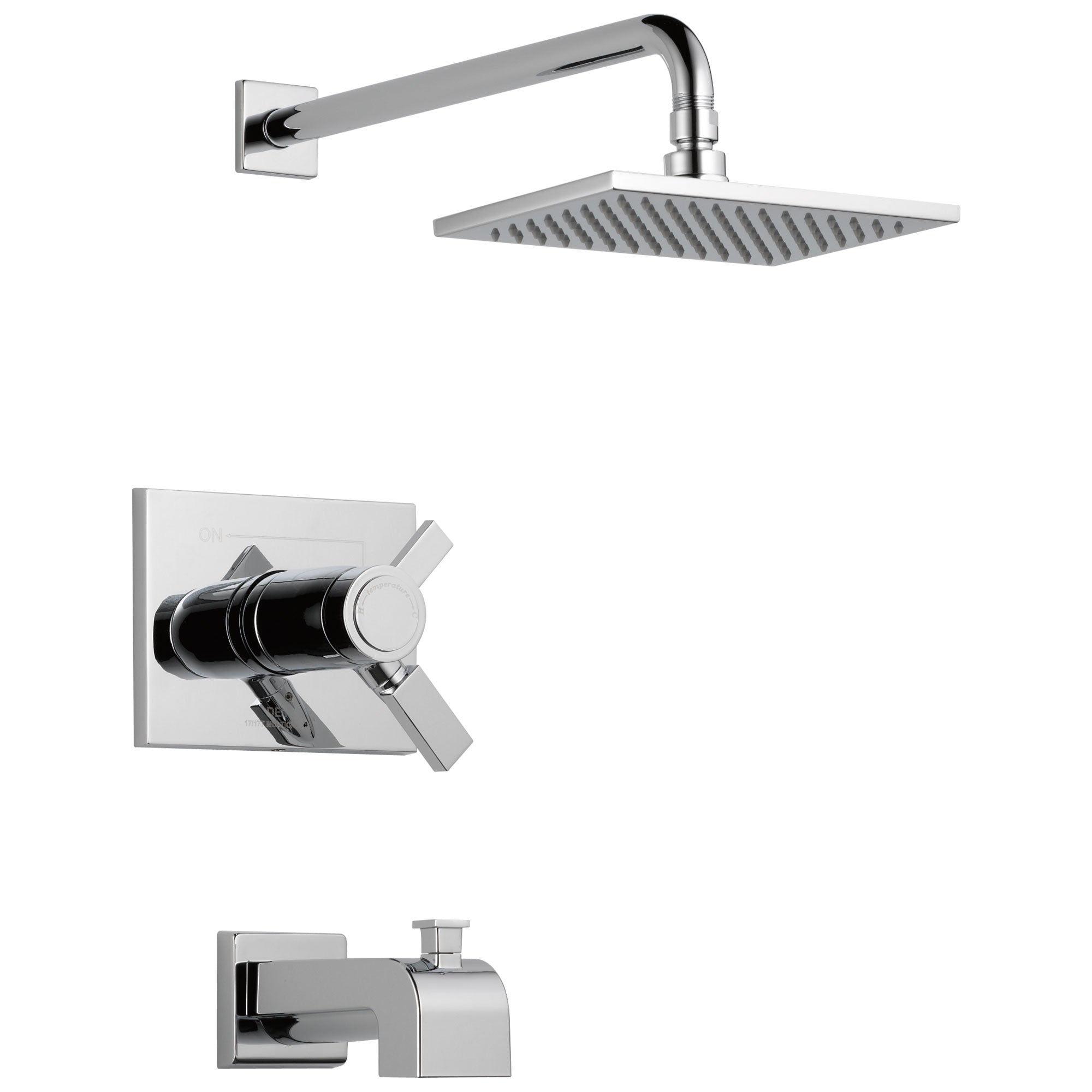 Delta Vero Chrome Finish Water Efficient Thermostatic Tub & Shower Faucet Combination Includes 17T Cartridge, Handles, and Valve with Stops D3236V