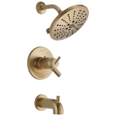 Delta Trinsic Collection Champagne Bronze TempAssure 17T Series Watersense Thermostatic Tub T Shower Combo Faucet Includes Valve without Stops D2235V