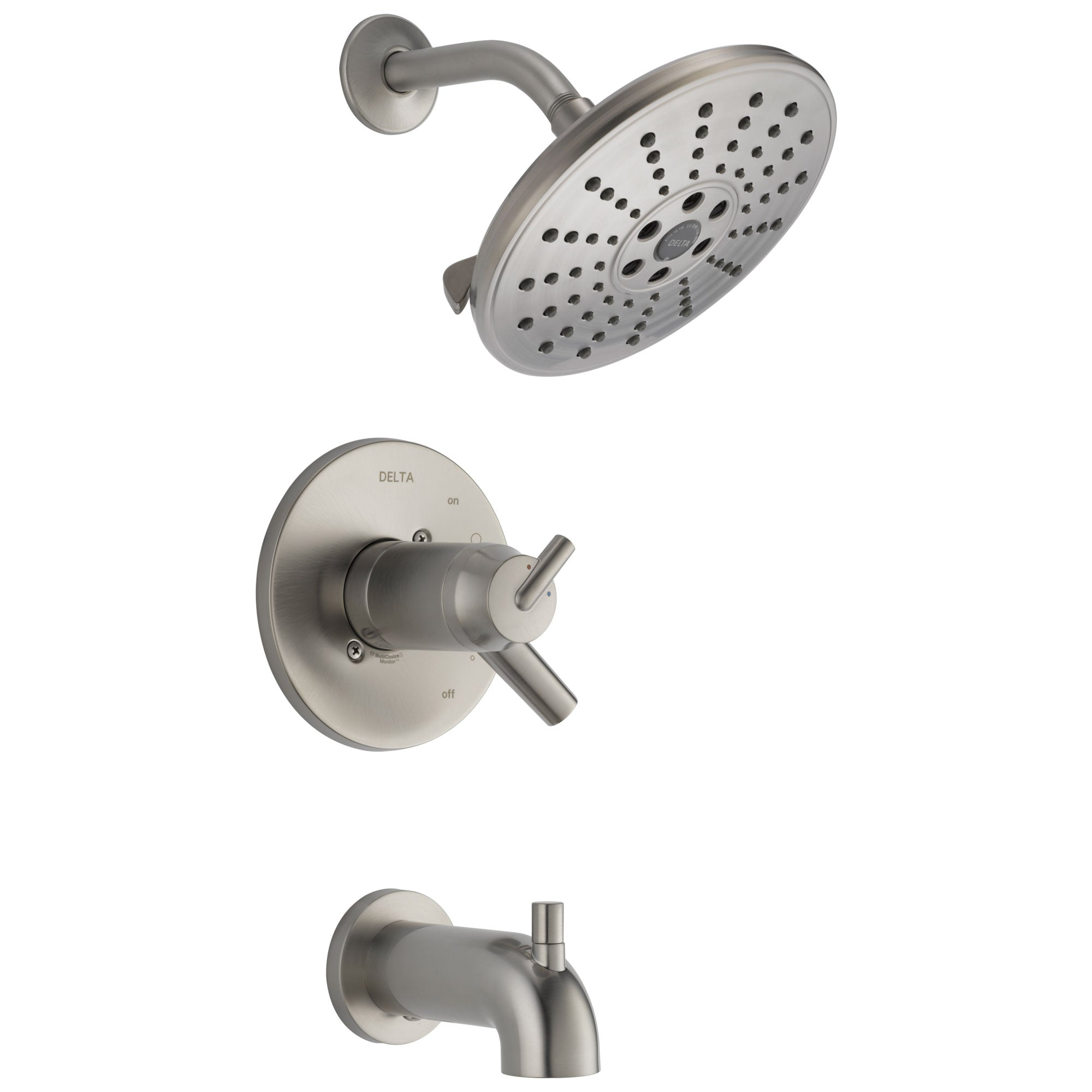 Delta Trinsic Collection Stainless Steel Finish TempAssure 17T Watersense Thermostatic Tub and Shower Combo Faucet Includes Valve without Stops D2229V