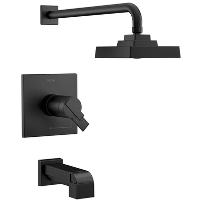 Delta Ara Matte Black Finish Thermostatic Tub and Shower Faucet Combo Includes Handles, 17T Cartridge, and Rough-in Valve without Stops D3626V