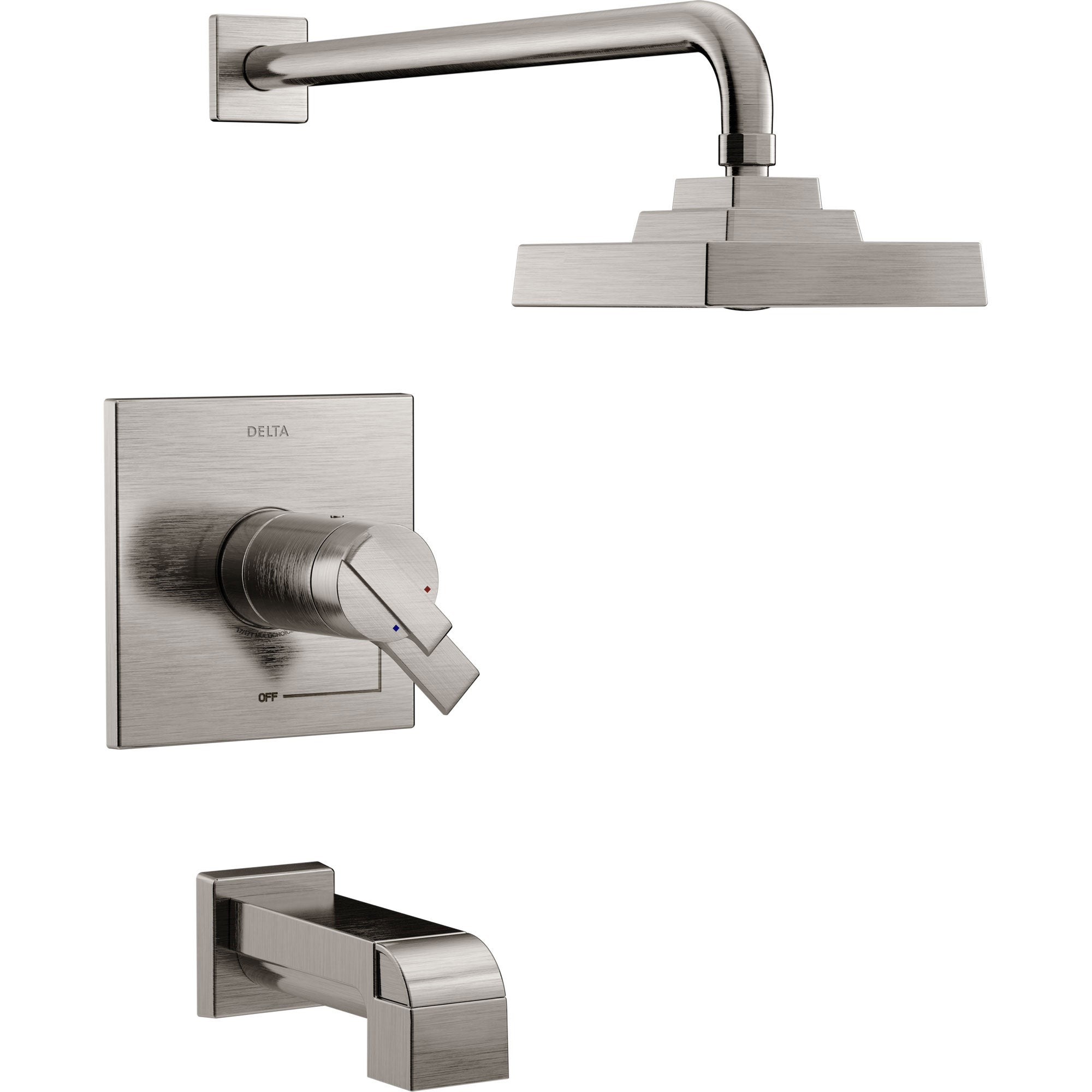 Delta Ara Modern Stainless Steel Finish TempAssure 17T Tub and Shower Combination Faucet with Dual Temperature and Pressure Control INCLUDES Rough-in Valve D1100V