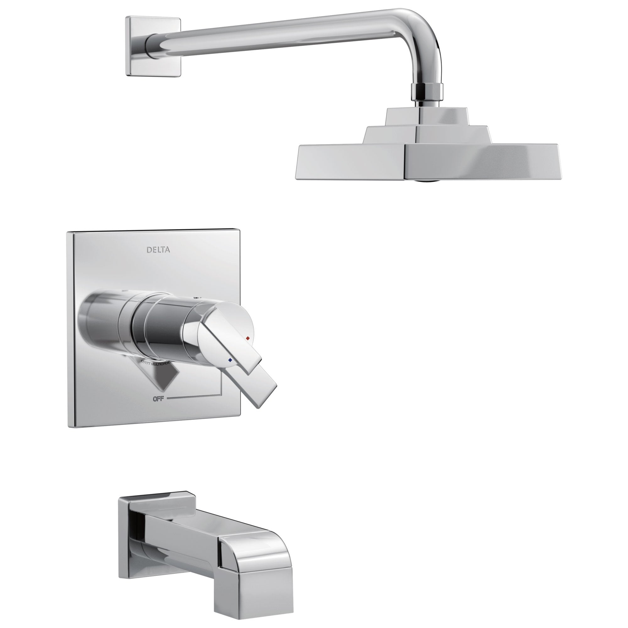 Delta Ara Collection Chrome Modern Thermostatic TempAssure 17T Series Tub and Shower Combination Faucet Includes Valve with Stops D2224V