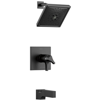 Delta Zura Matte Black Finish Thermostatic Tub and Shower Combination Faucet Includes Handles, Cartridge, and Rough-in Valve with Stops D3625V