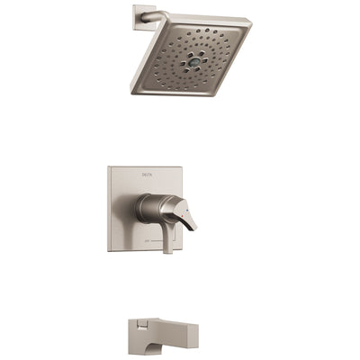 Delta Zura Collection Stainless Steel Finish Modern Temperature and Volume Dual Control Tub and Shower Faucet Combination Includes Valve without Stops D1920V