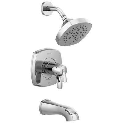 Delta Stryke Chrome Finish 17T Thermostatic Tub and Shower Faucet Combination Includes Handles, Cartridge, and Valve without Stops D3233V