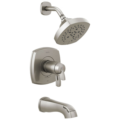 Delta Stryke Stainless Steel Finish 17T Thermostatic Tub and Shower Faucet Combination Includes Handles, Cartridge, and Valve with Stops D3228V