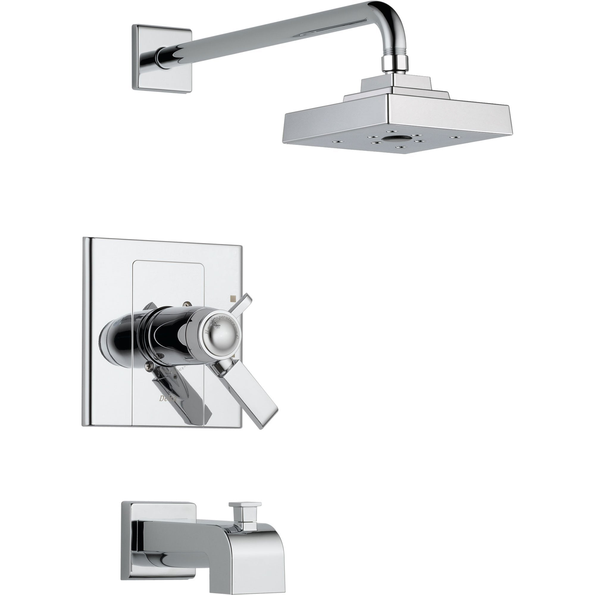 Delta Arzo Thermostatic Dual Control Chrome Tub & Shower Faucet with Valve D511V