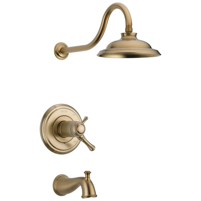 Delta Cassidy Champagne Bronze Finish TempAssure Water Efficient Tub & Shower Combo Includes Handles, 17T Cartridge, and Valve without Stops D3225V