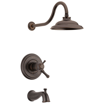 Delta Cassidy Venetian Bronze Finish TempAssure Water Efficient Tub & Shower Combo Includes Handles, 17T Cartridge, and Valve without Stops D3221V