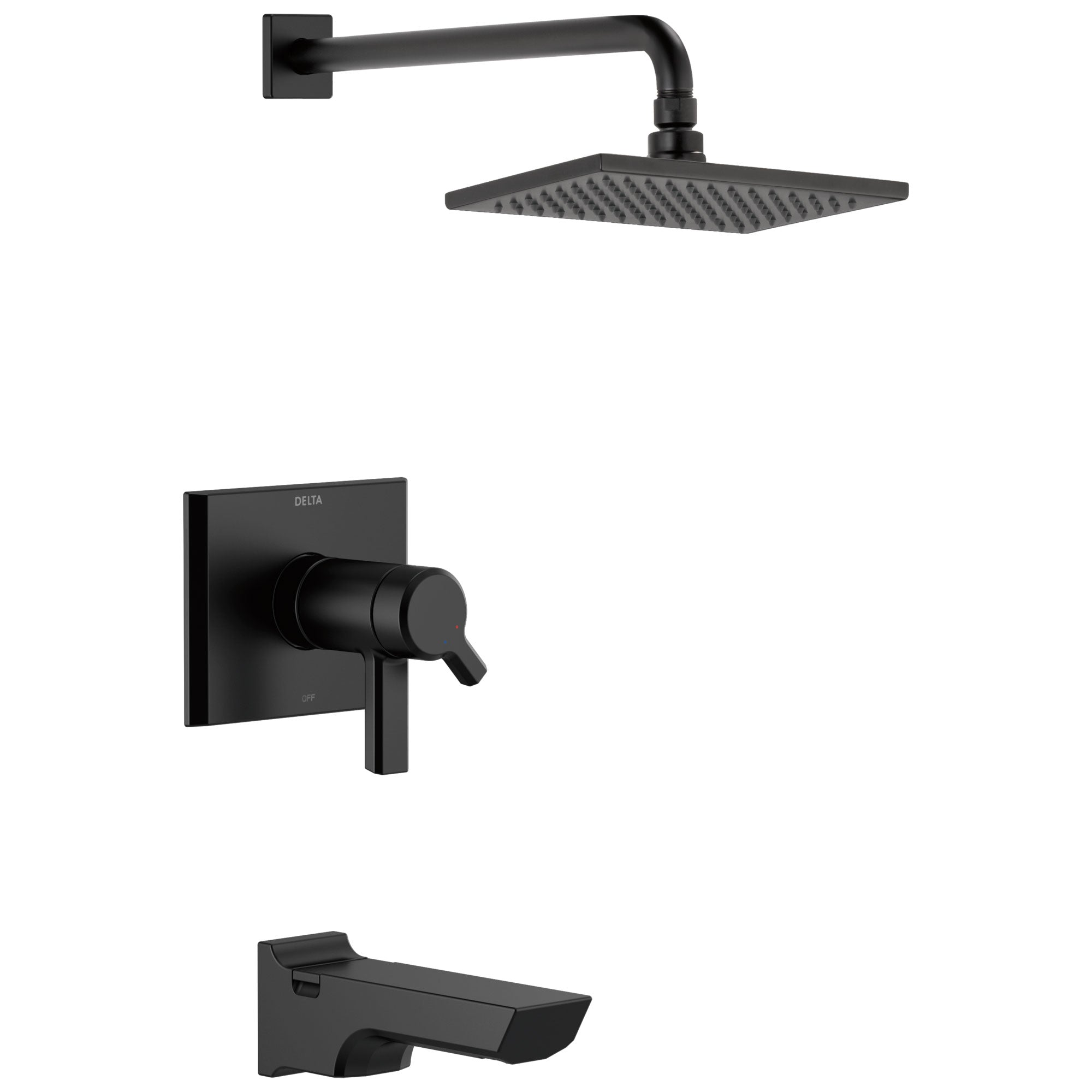 Delta Pivotal Matte Black Finish Thermostatic Tub & Shower Combination Faucet Includes 17T Cartridge, Handles, and Valve without Stops D3213V