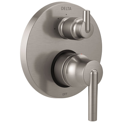Delta Trinsic Stainless Steel Finish Shower Faucet Valve Trim Control Handle with 3-Setting Integrated Diverter Includes Trim Kit and Valve without Stops D2214V