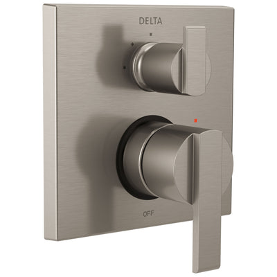 Delta Ara Stainless Steel Finish Shower Faucet Valve Trim Control Handle with 3-Setting Integrated Diverter Includes Trim Kit and Valve without Stops D2208V