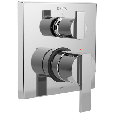 Delta Ara Chrome Modern Monitor 14 Shower Faucet Valve Trim Control Handle with 3-Setting Integrated Diverter Includes Trim Kit and Valve with Stops D2213V