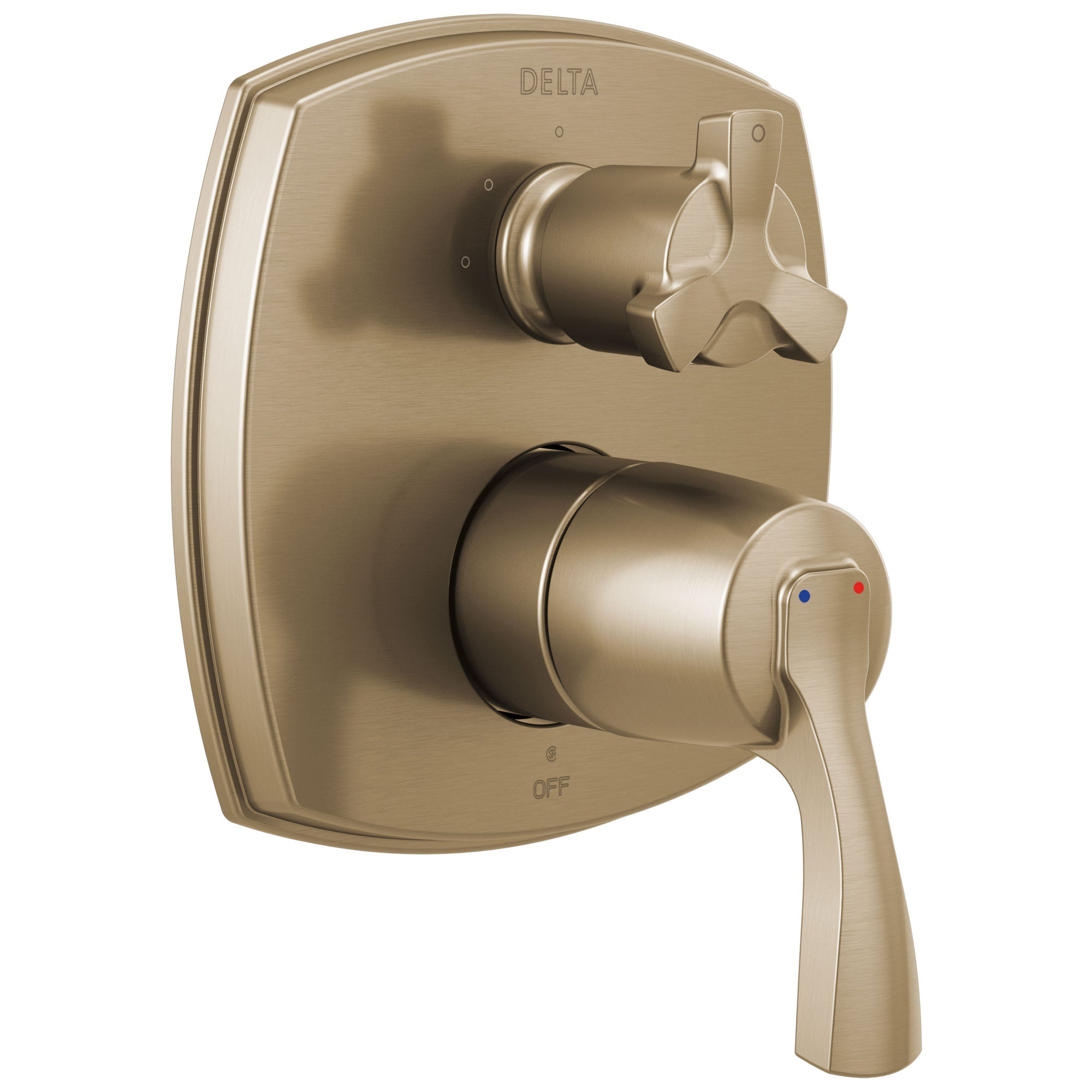 Delta Stryke Champagne Bronze 14 Series Shower System Control with 3 Function Integrated Cross Handle Diverter Includes Valve and Handles D3772V