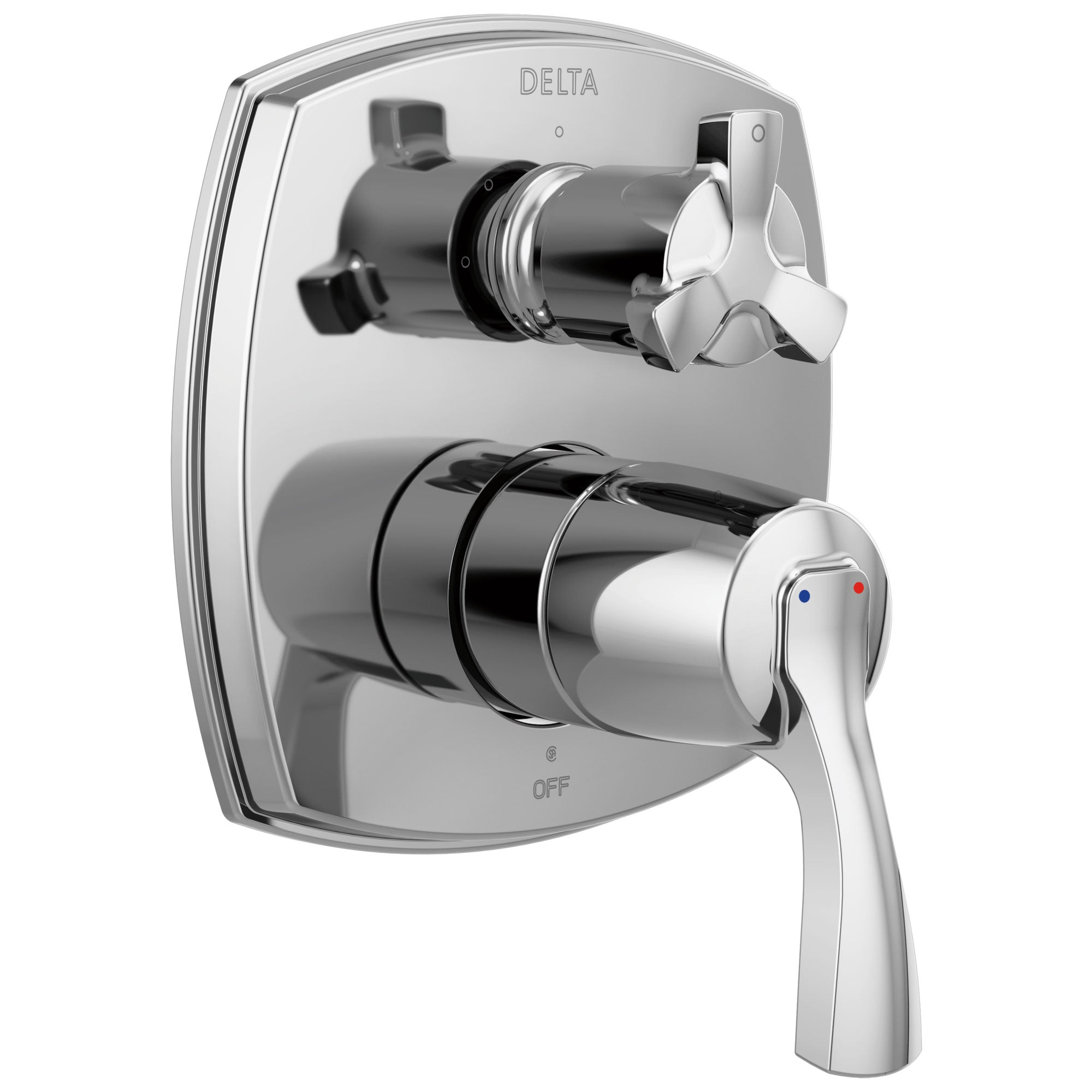 Delta Stryke Chrome Finish 14 Series Shower System Control with 3 Function Integrated Cross Handle Diverter Includes Valve and Handles D3770V