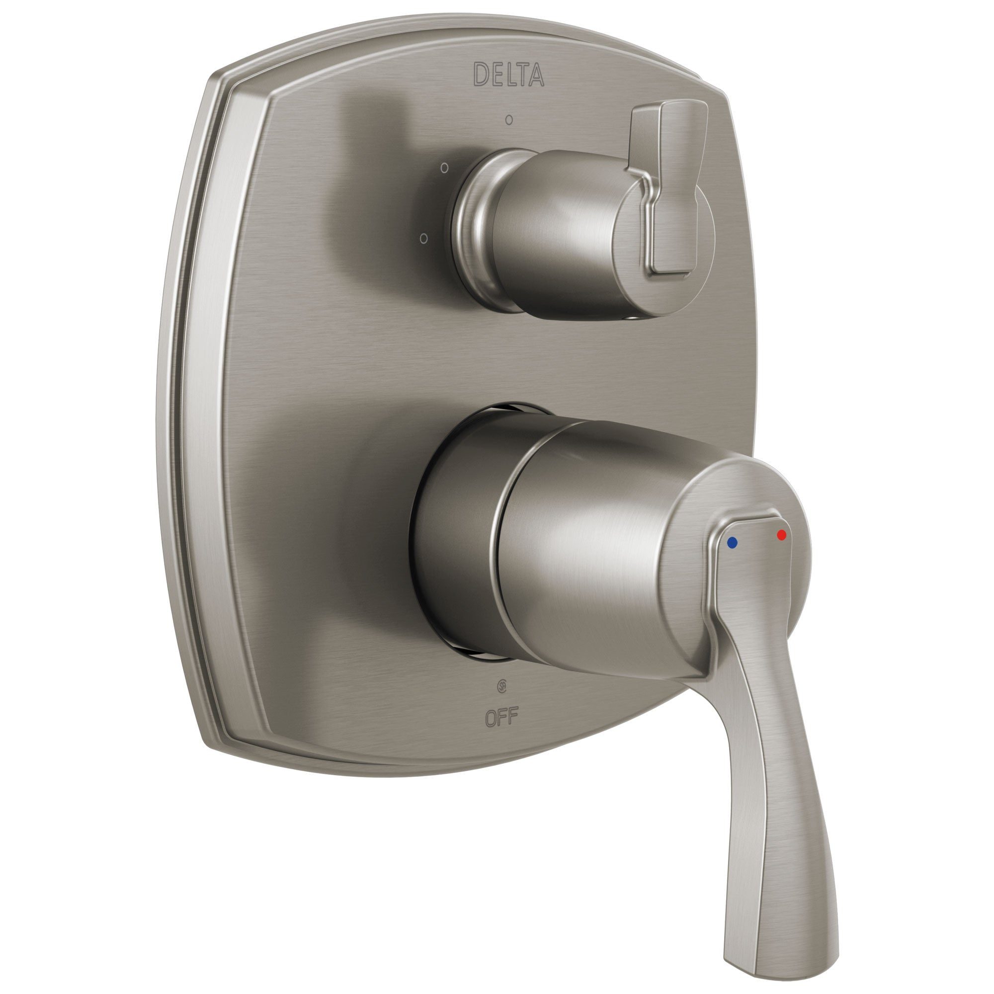Delta Stryke Stainless Steel Finish 14 Series Shower System Control with 3 Function Integrated Lever Handle Diverter Includes Valve and Handles D3194V