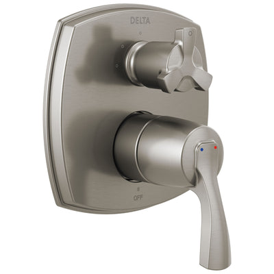 Delta Stryke Stainless Steel Finish 14 Series Shower System Control with 3 Function Integrated Cross Handle Diverter Includes Valve and Handles D3195V