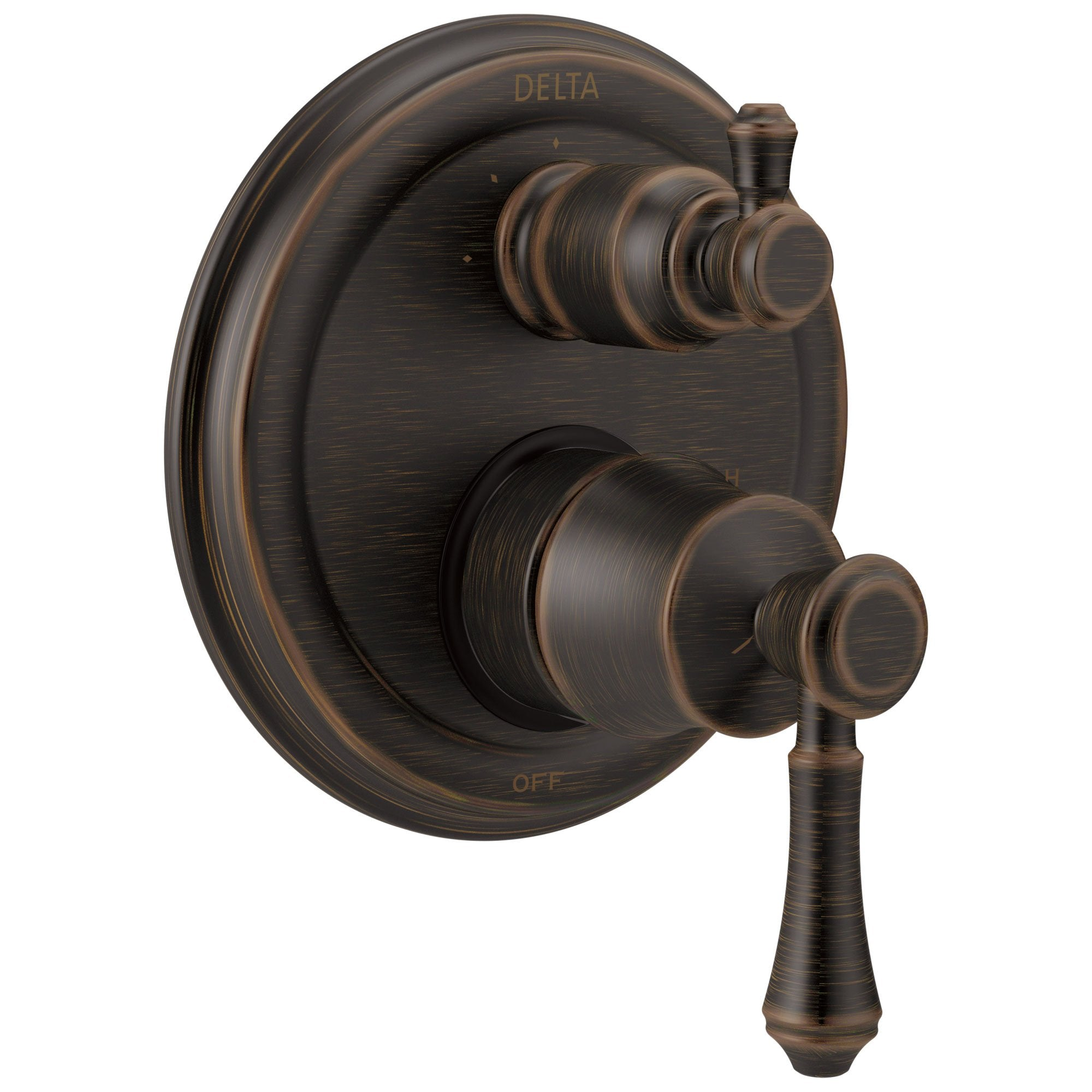 Delta Cassidy Venetian Bronze Shower Faucet Valve Trim Control Handle with 3-Setting Integrated Diverter Includes Trim Kit and Rough-in Valve with Stops D2205V