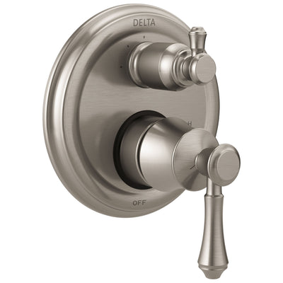 Delta Cassidy Stainless Steel Finish Shower Faucet Valve Trim Control Handle with 3-Setting Integrated Diverter Includes Trim Kit and Valve with Stops D2203V