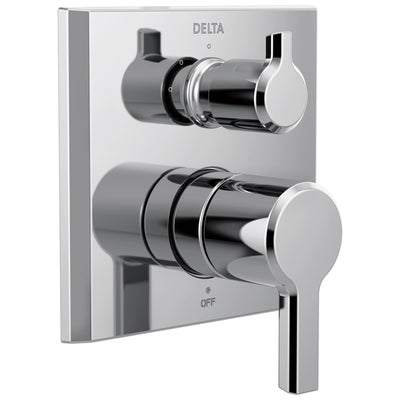 Delta Pivotal Chrome Finish 14 Series Modern Shower Faucet System Control with 3-Setting Integrated Diverter Includes Valve and Handles D3191V