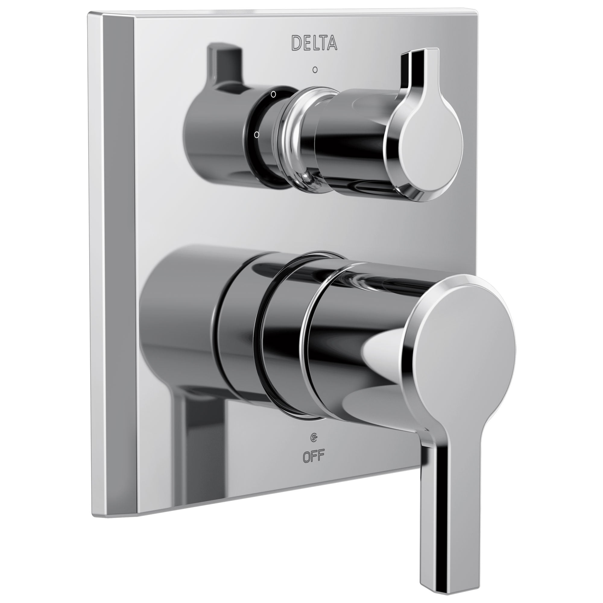 Delta Pivotal Chrome Finish 14 Series Modern Shower Faucet System Control with 3-Setting Integrated Diverter Includes Valve and Handles D3762V
