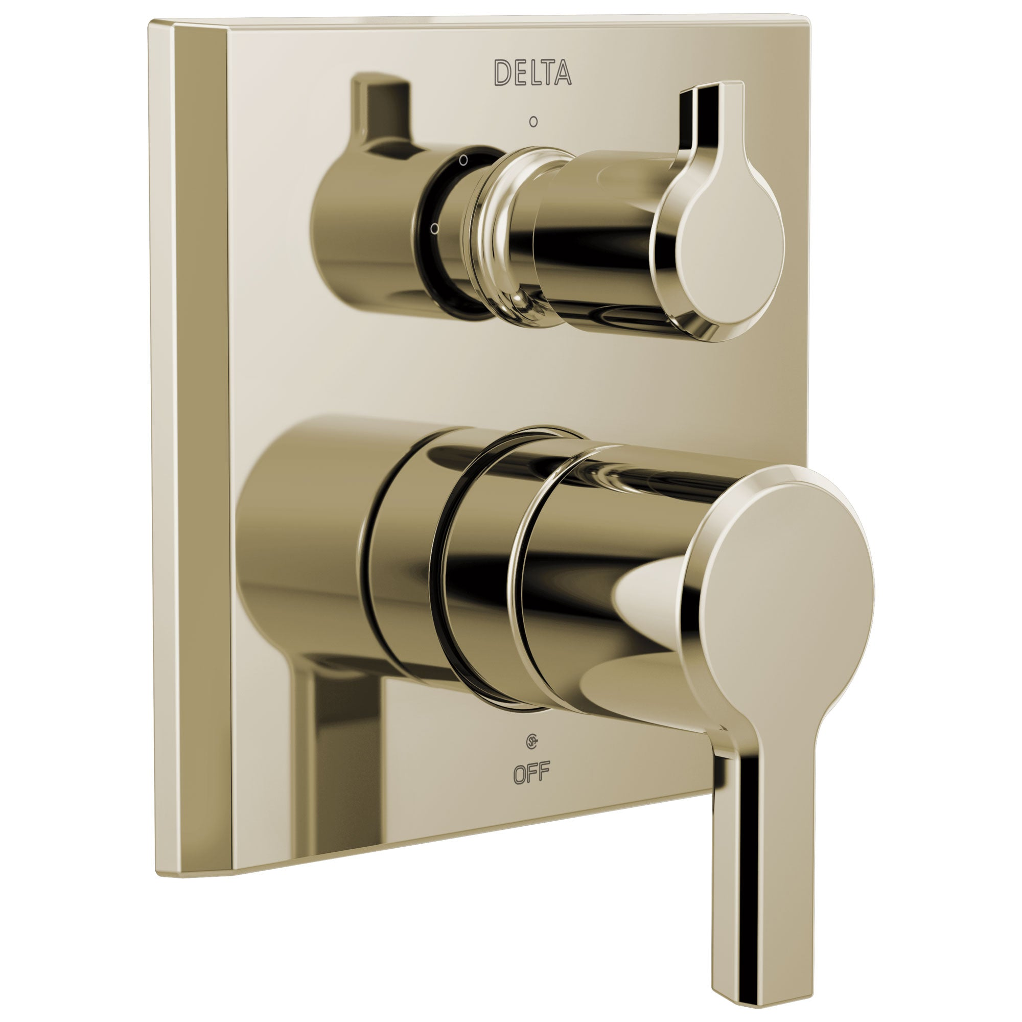 Delta Pivotal Polished Nickel Finish 14 Series Shower Faucet System Control with 3-Setting Integrated Diverter Includes Valve and Handles D3189V