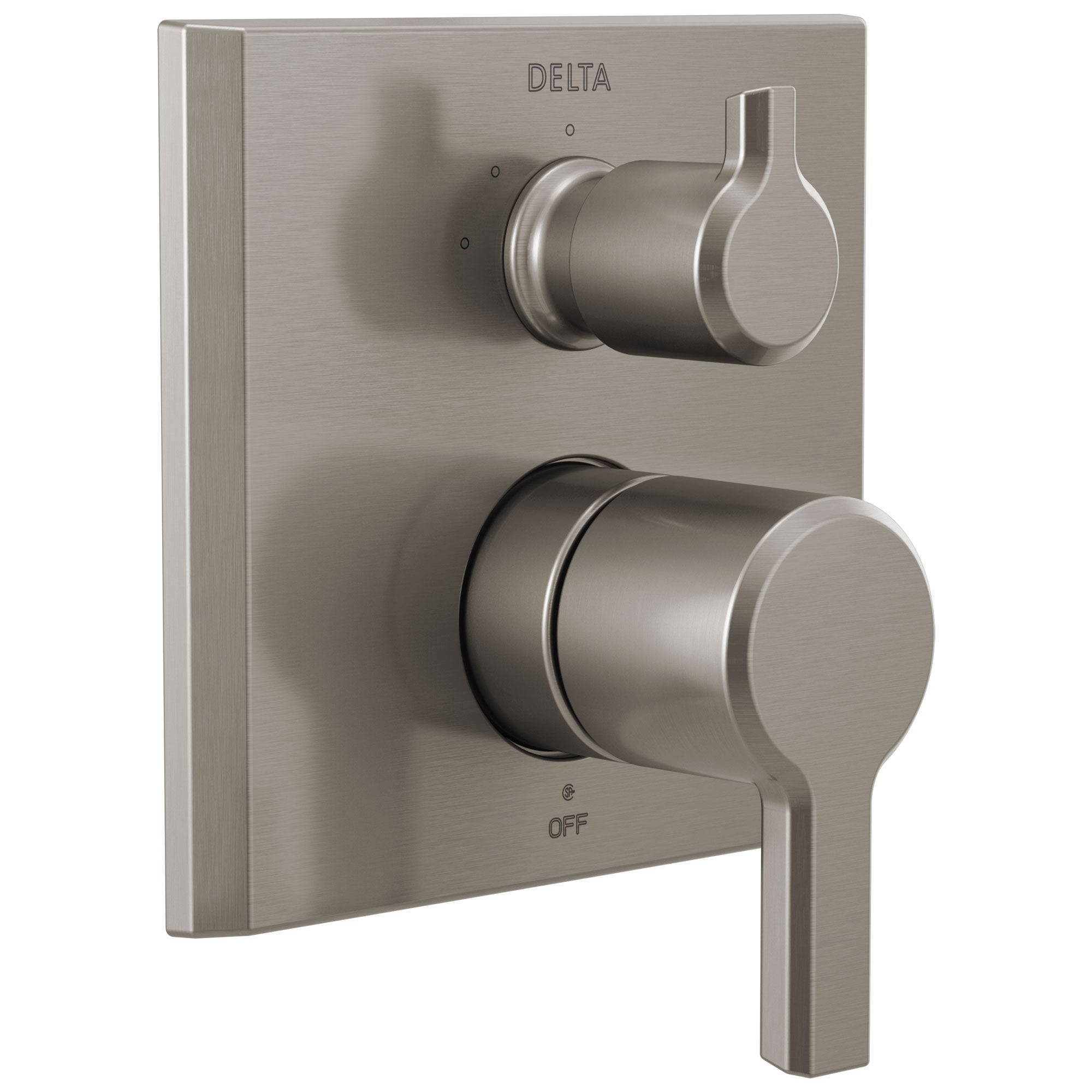 Delta Pivotal Stainless Steel Finish 14 Series Shower Faucet System Control with 3-Setting Integrated Diverter Includes Valve and Handles D3759V