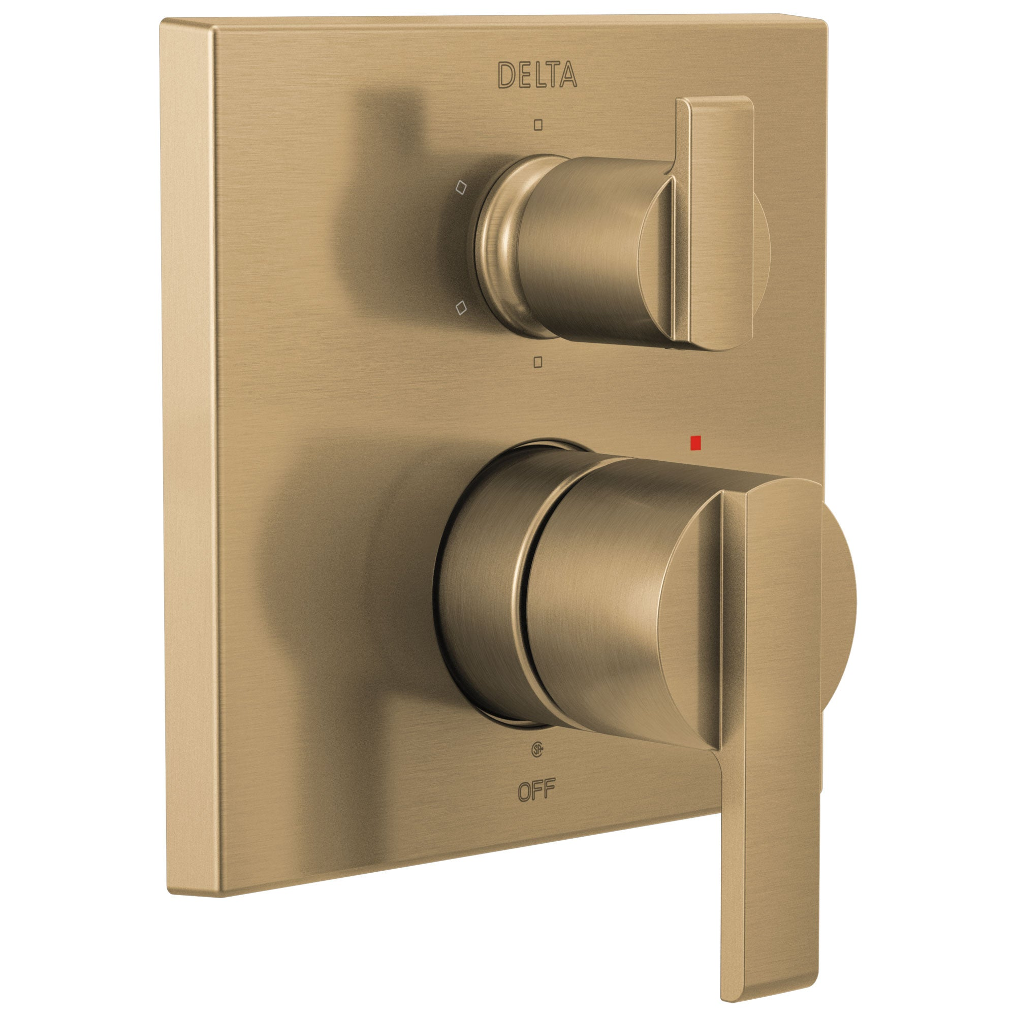Delta Ara Champagne Bronze Finish Angular Modern 14 Series Shower System Control with 6-Setting Integrated Diverter Includes Valve and Handles D3755V