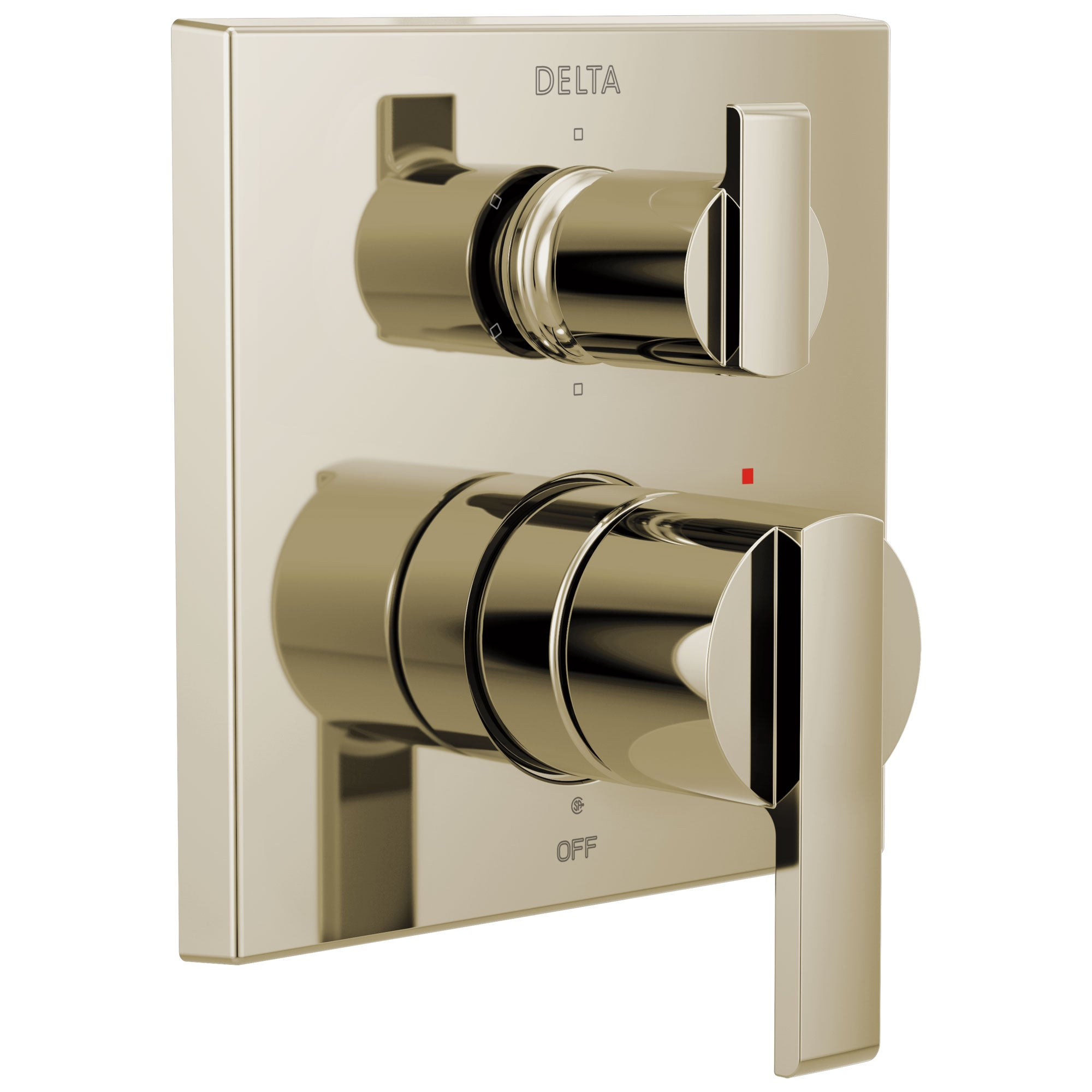 Delta Ara Polished Nickel Finish Angular Modern 14 Series Shower System Control with 6-Setting Integrated Diverter Includes Valve and Handles D3183V