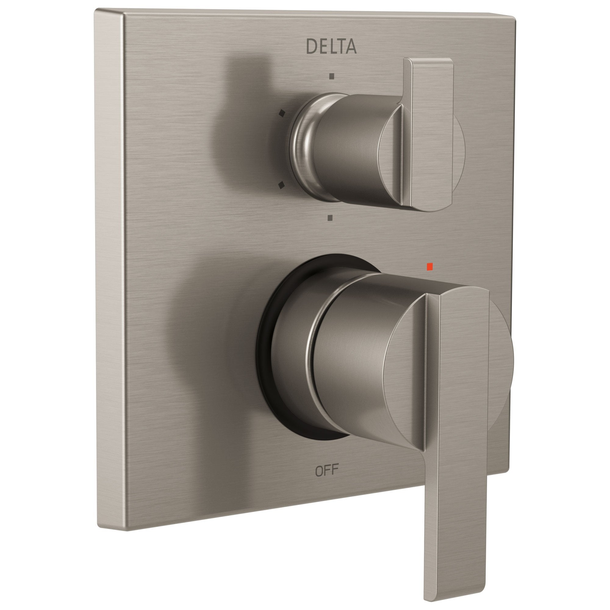 Delta Ara Collection Stainless Steel Finish Modern Shower Faucet Control Handle with 6-Setting Integrated Diverter Includes Trim Kit and Valve without Stops D2190V