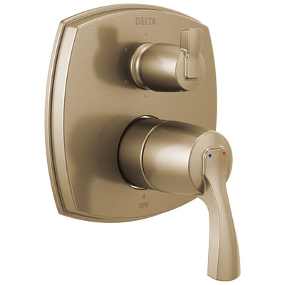 Delta Stryke Champagne Bronze Finish 14 Series Shower System Control with Integrated 6 Setting Lever Handle Diverter Includes Valve and Handles D3750V