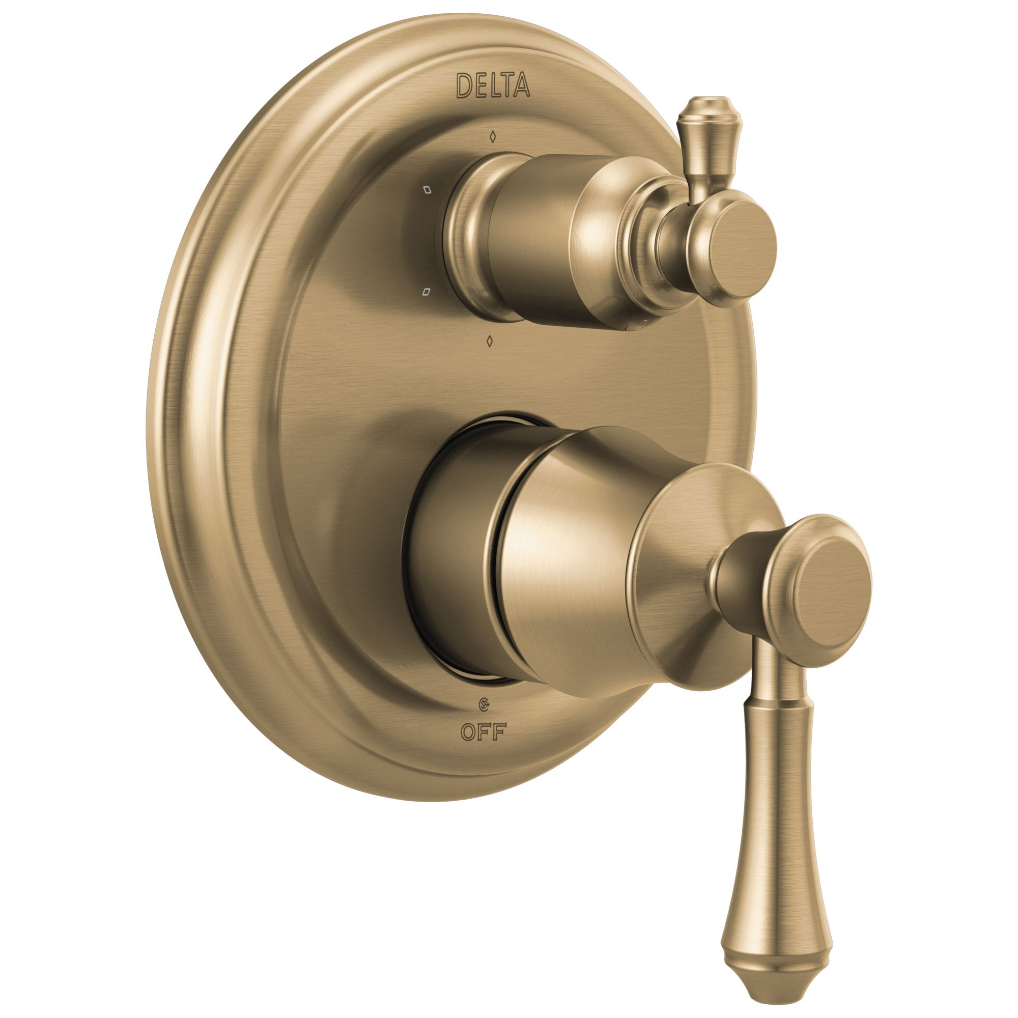 Delta Cassidy Champagne Bronze Finish Traditional 14 Series Shower System Control with 6-Setting Integrated Diverter Includes Valve and Handles D3743V